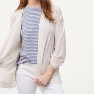 LOFT Poly Linen Blend Open Cardigan